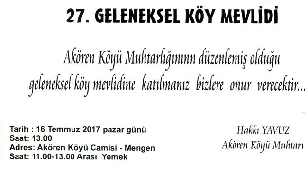 Akören Köy Mevlidine davet