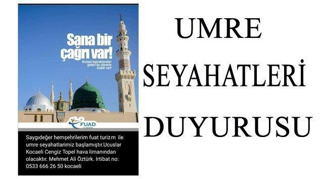 Hemşehrimiz Mehmet Ali ÖZTÜRK Hoca'dan Umre Seyahatleri Duyurusu